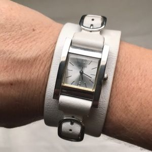 Guess white leather & silver watch cuff